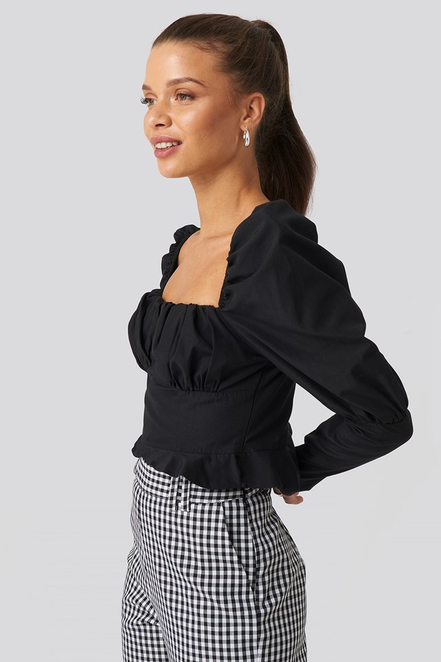 Puffy Sleeve Ruffle Cup Blouse Black
