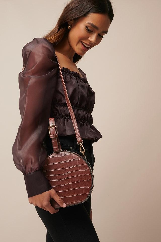 Round Croco Look Bag Dark Brown