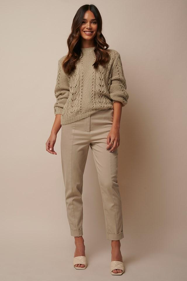 Straight Folded Suit Pants Beige