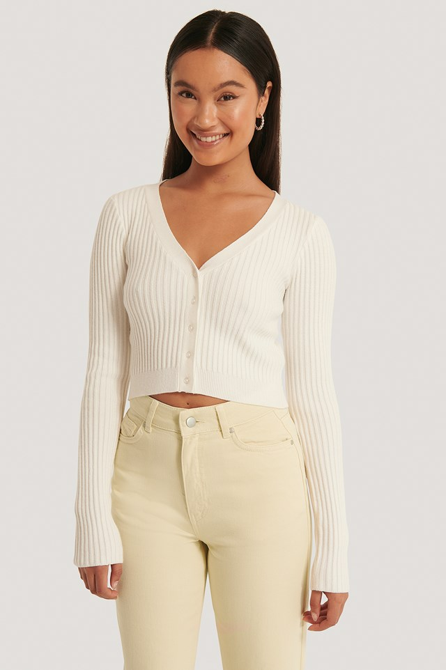 Cropped Ribbed Cardigan Off White