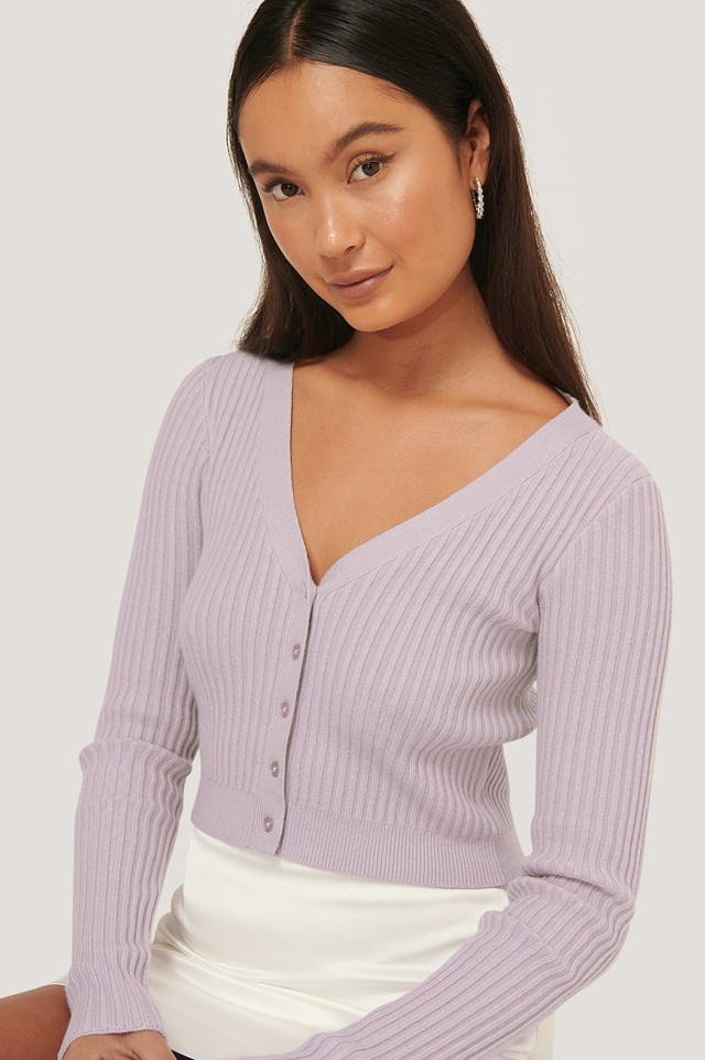 Cropped Ribbed Cardigan Dusty Lilac