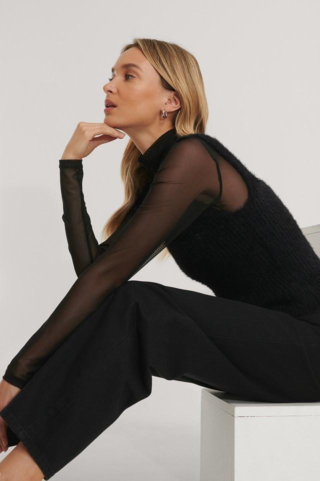 Fuzzy Knitted Singlet Black