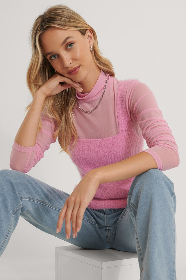 Fuzzy Knitted Singlet Pink