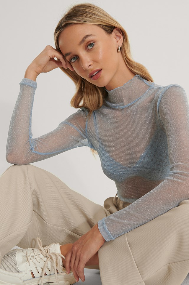 Glittery Long Sleeve Top Light Blue