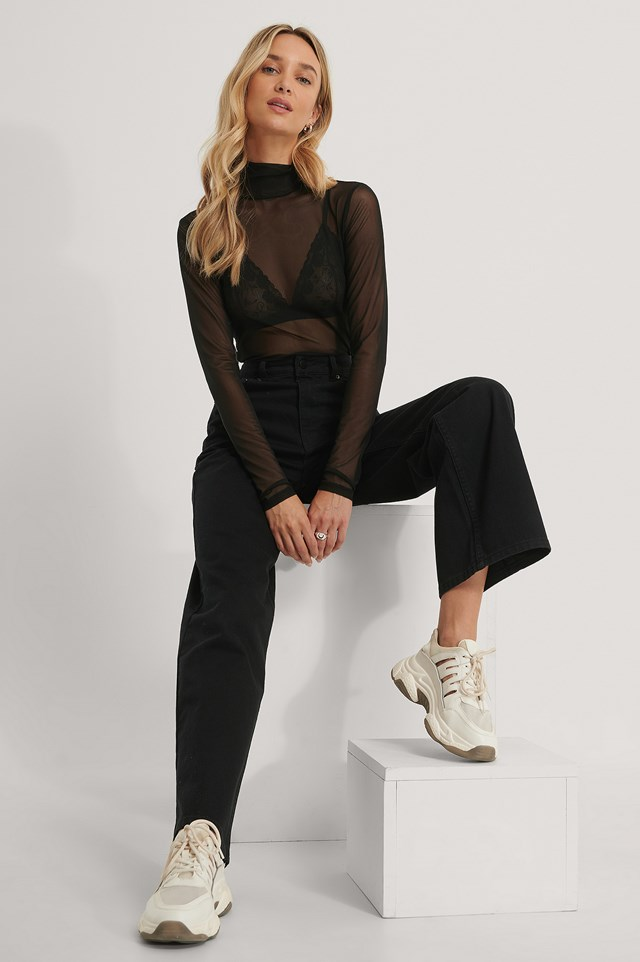 Long Sleeve Mesh Top Black