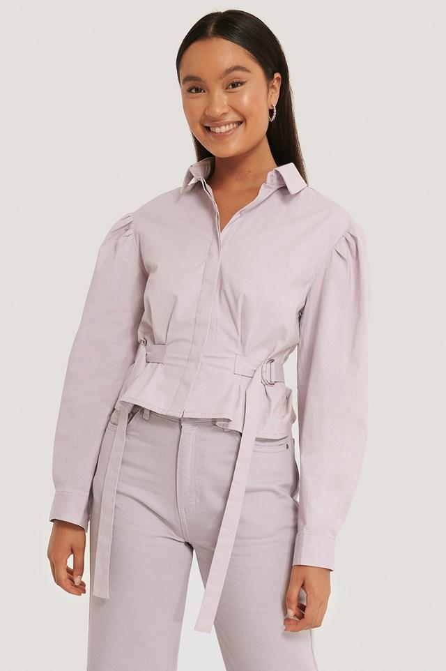 Marked Waist Oversized Shirt Dusty Lilac