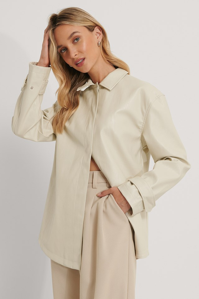 Cream PU Jacket