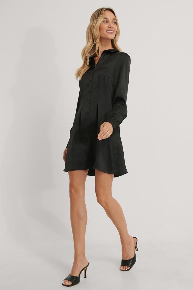 Satin Shirt Dress Black