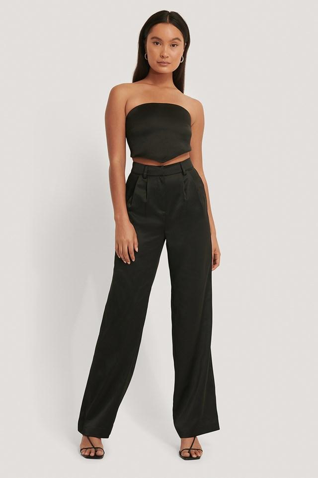 Straight Satin Pants Black