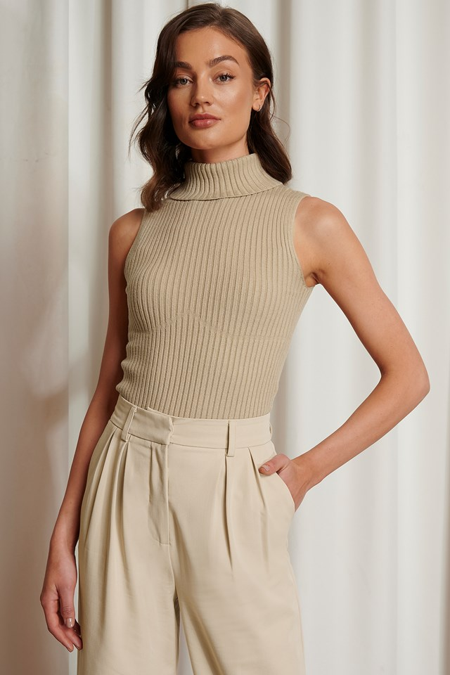 Beige Seam Detail Ribbed Polo Top