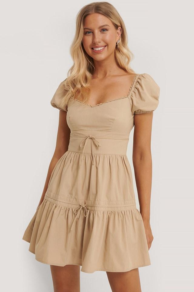 Tie Detail Mini Dress Beige