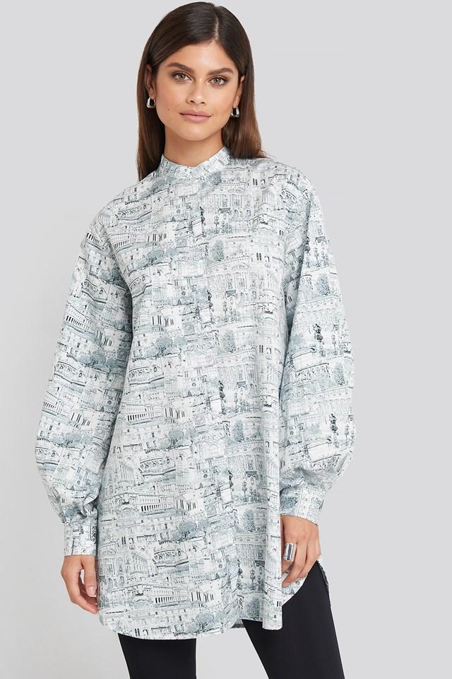 Oversized Printed Cotton Shirt Dress Green Print