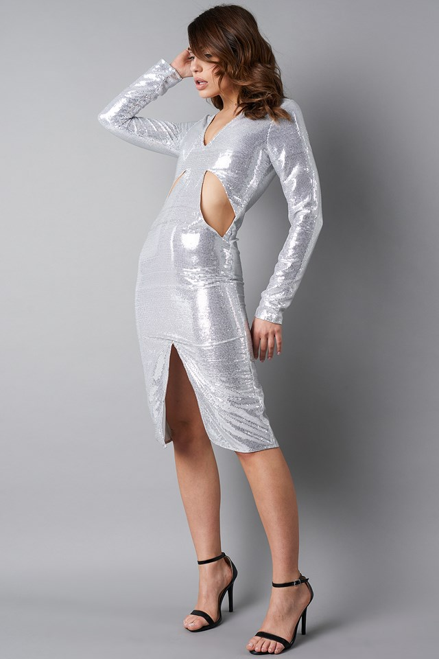 Deep V-Neck Cut Out Midi Dress Silver