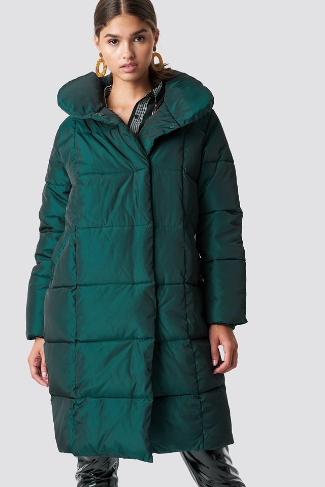 Shawl Collar Shiny Padded Jacket NA-KD