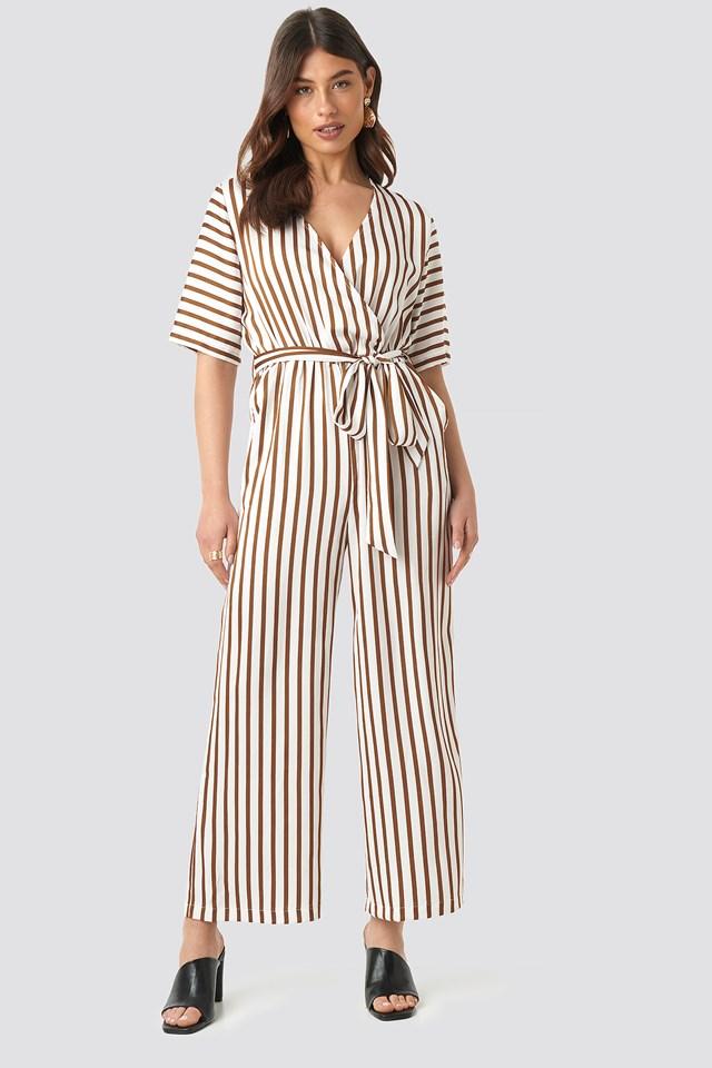 Striped Jumpsuit White/Brown Stripe