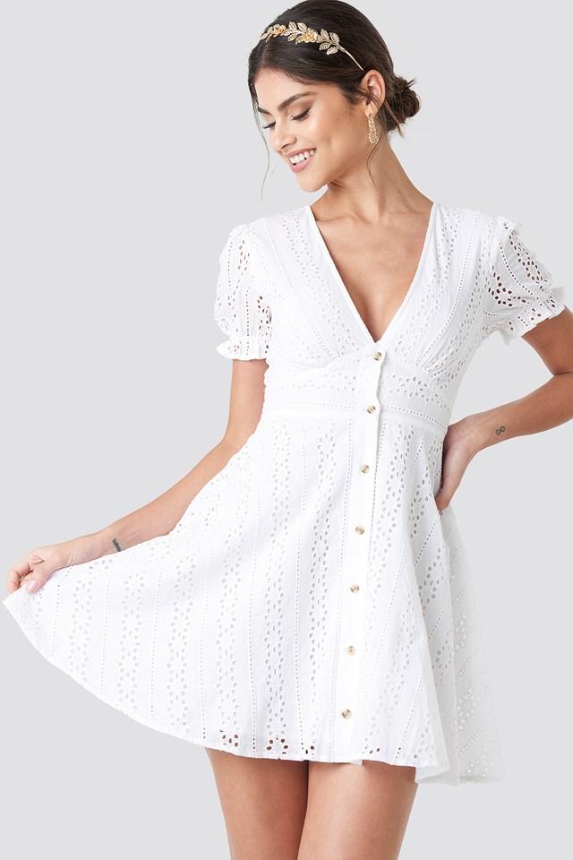 V-Neck Anglaise Mini Dress NA-KD Boho