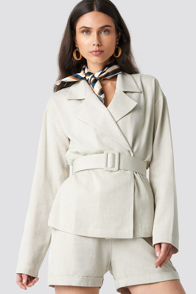 Wide Belted Oversized Blazer NA-KD Classic