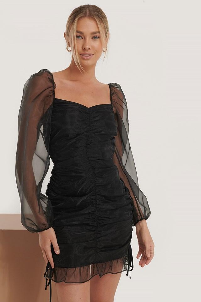 Draped Detail Organza Dress Black