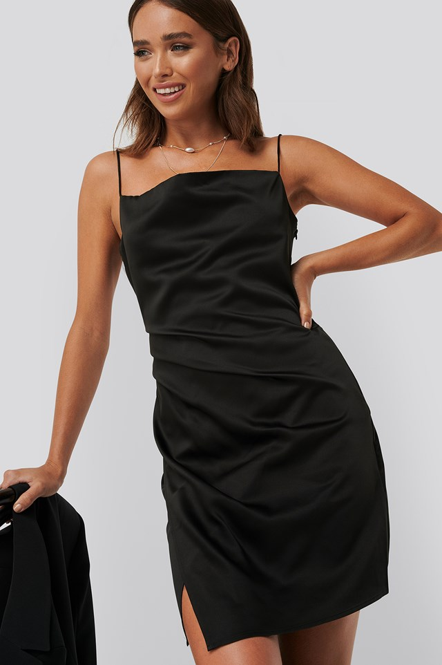 Draped Satin Dress Black