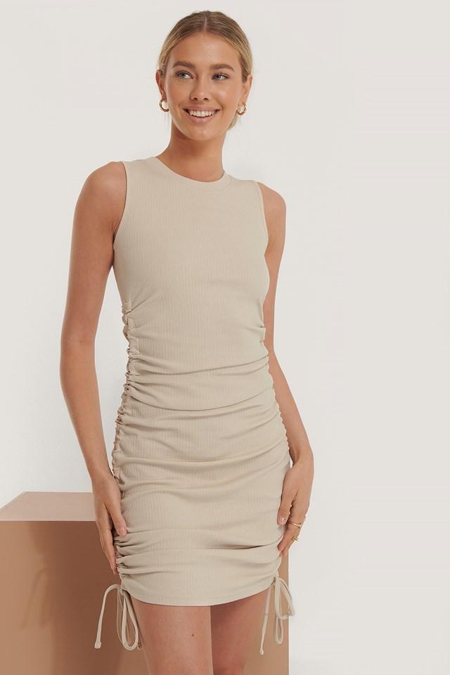 Drawstring Detail Dress Beige