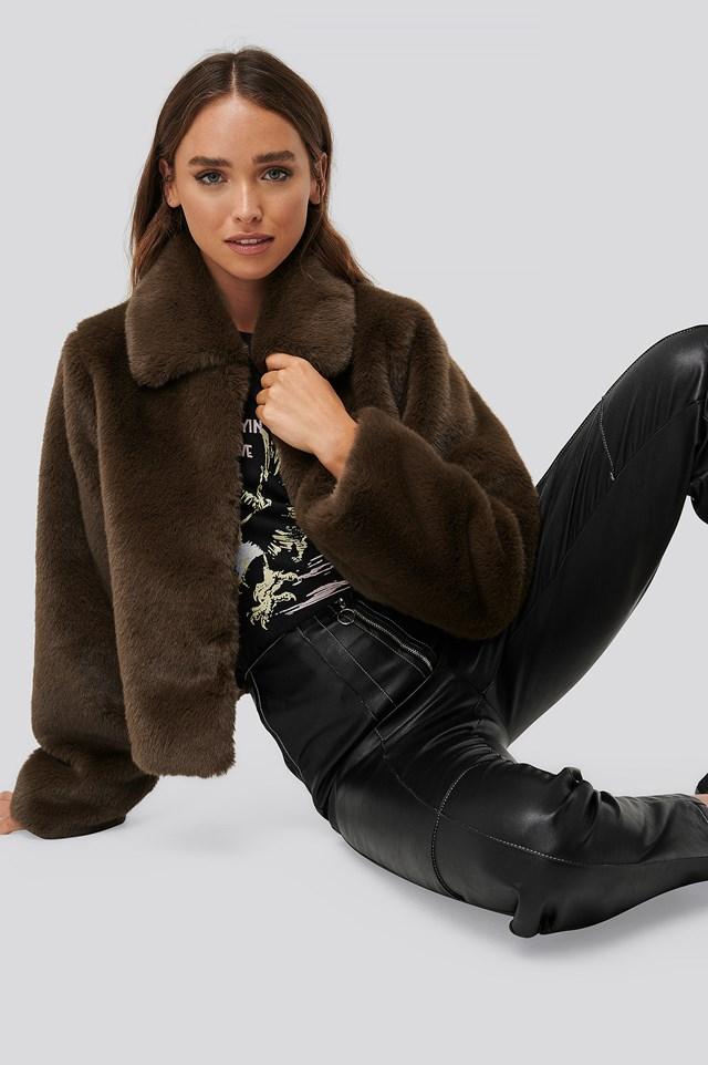 Faux Fur Jacket Dark Brown