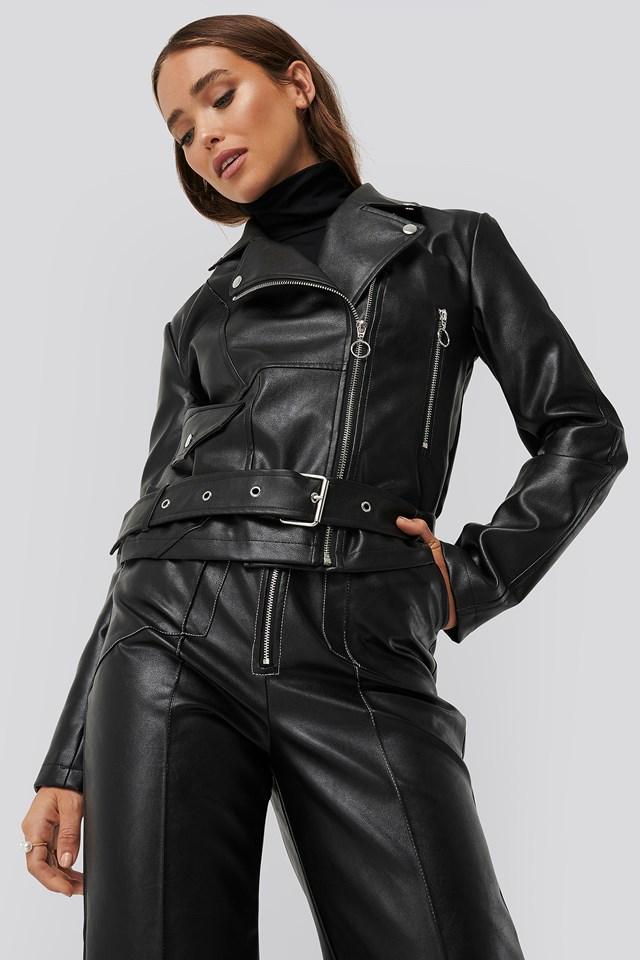 Faux Leather Seam Detail Jacket Black