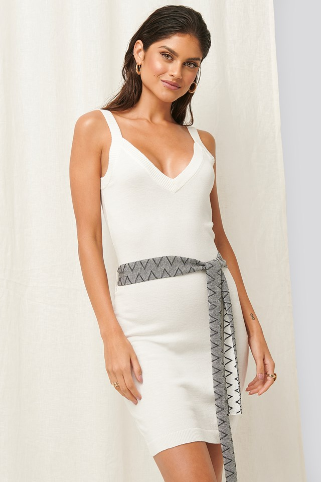 Knitted Mini Dress White