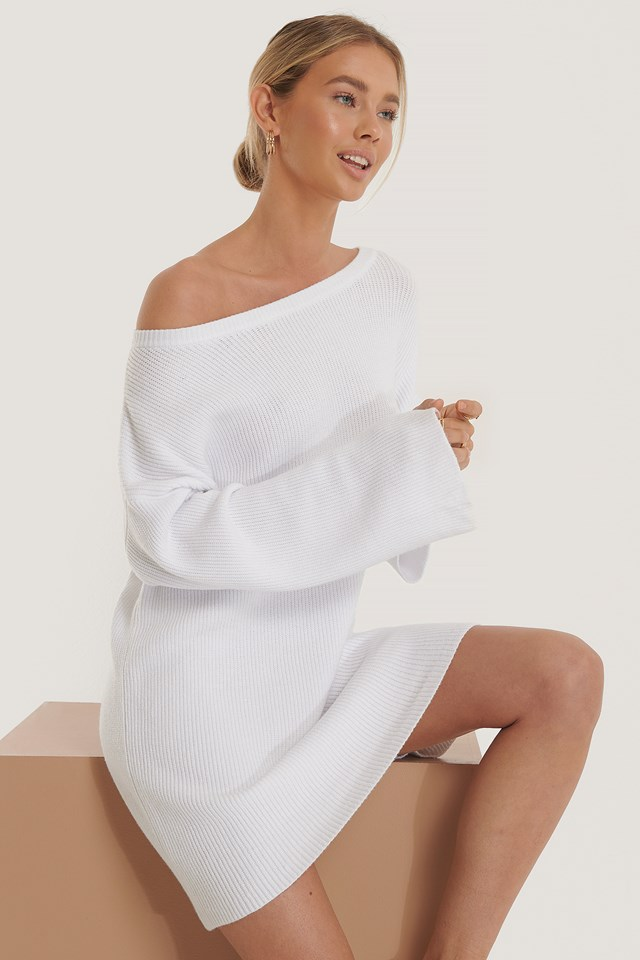 One Shoulder Knitted Dress White