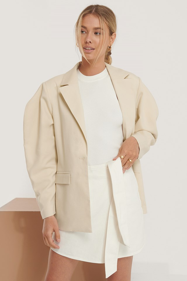 Oversized Shoulder Blazer Beige