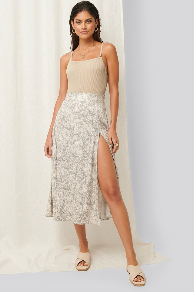 Printed Flowy Midi Skirt Leaf Printed