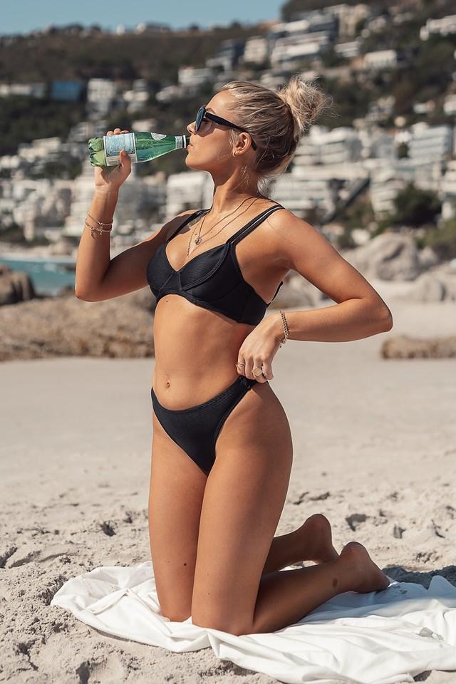 Ribbed Cup Detail Bikini Top Black