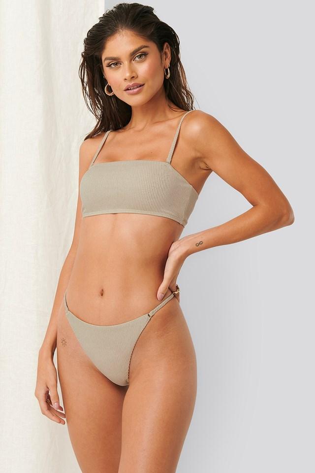 Ribbed High Leg Strap Bikini Thong Sand