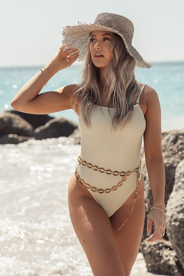 Thin Strap Smocked Swimsuit Sand