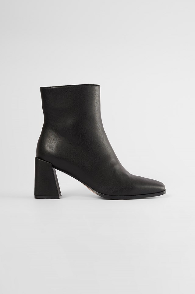Black Square Toe Boots