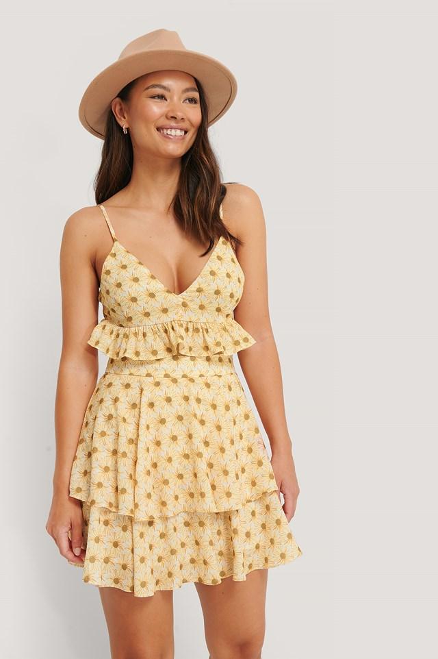 Frill Detail Skirt Flower Print