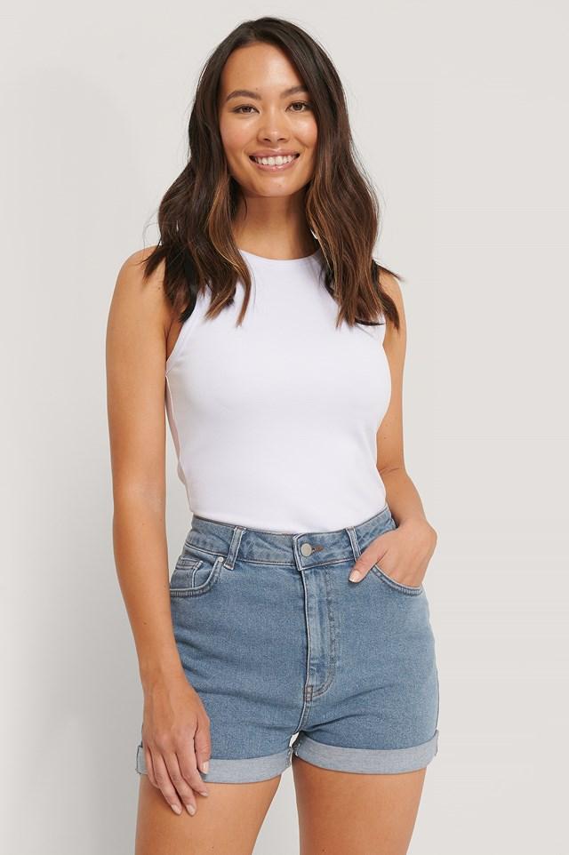 Highwaisted Denim Shorts Blue