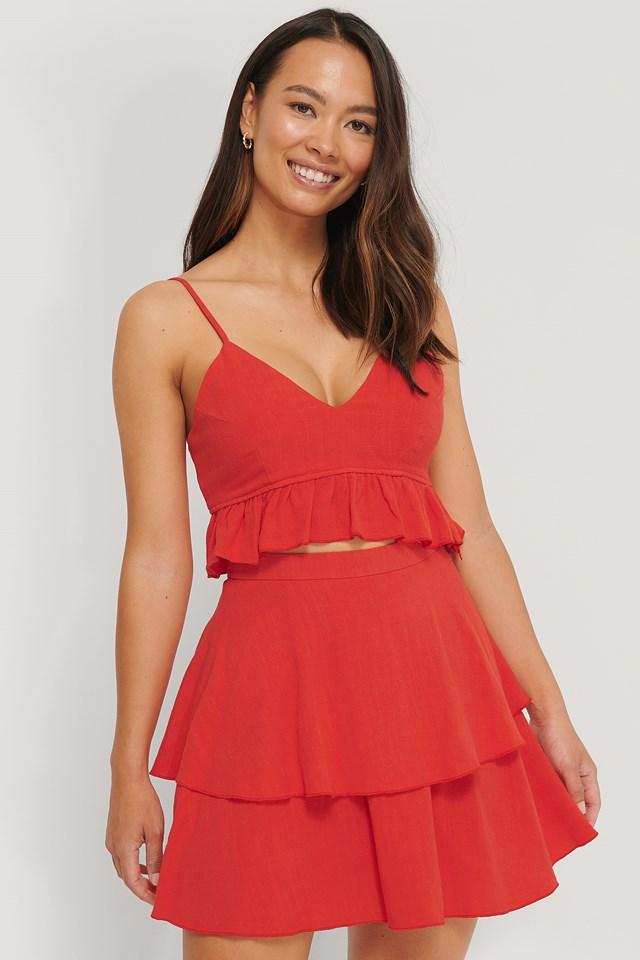 Linen Mix Frill Detail Skirt Red