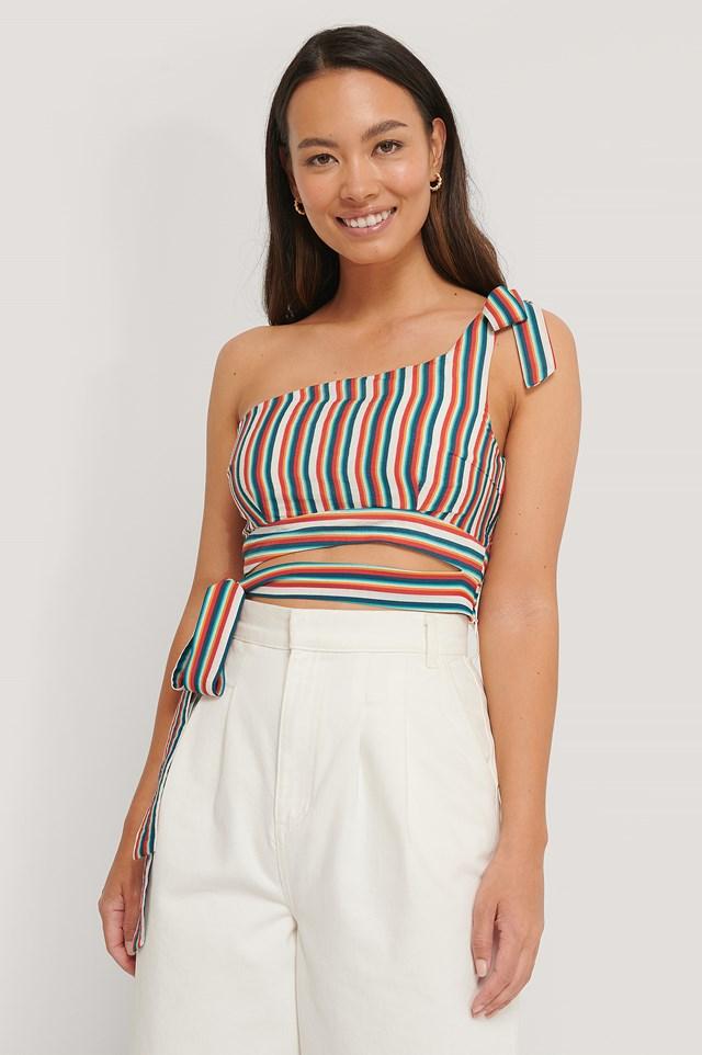 One Shoulder Tie Top Stripe Print