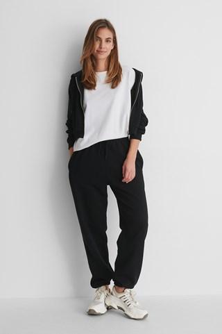 Black Organic Felt Pocket Detail Sweatpants
