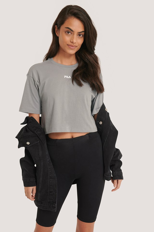 Magola Oversized Cropped Tee Monument/Gray Violet