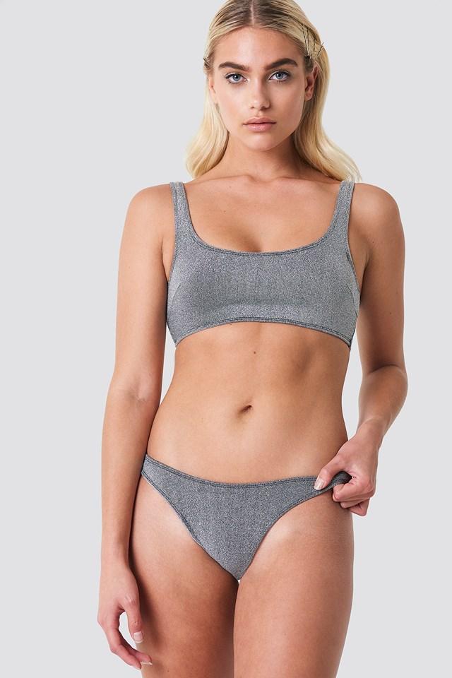 Lurex Bikini Bottom Silver