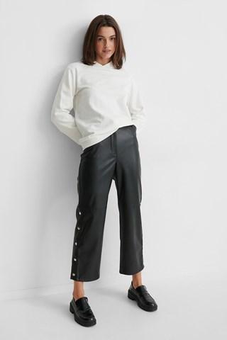 Black Button Detail Pu Pants