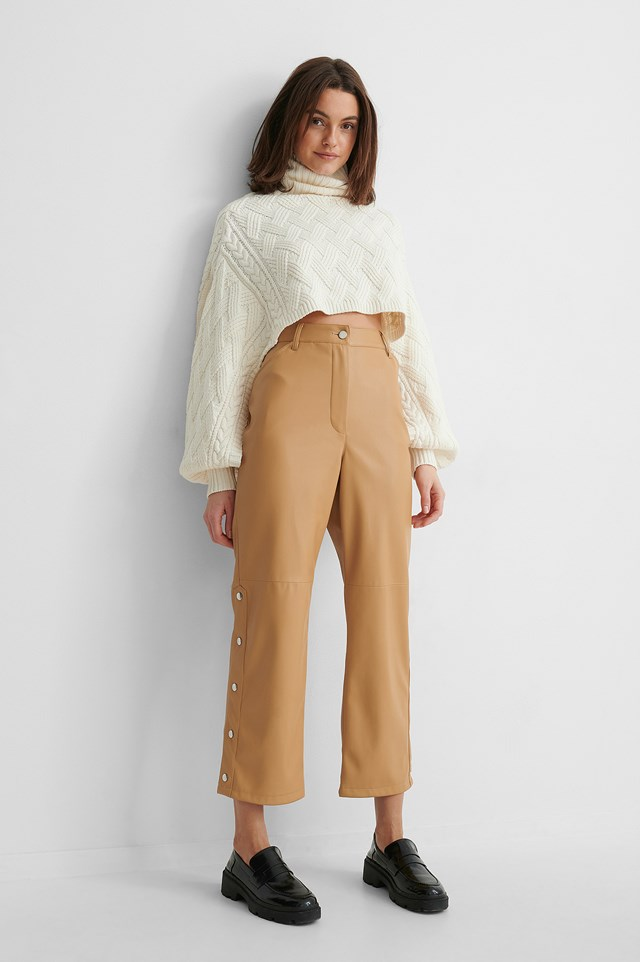 Button Detail Pu Pants Latte