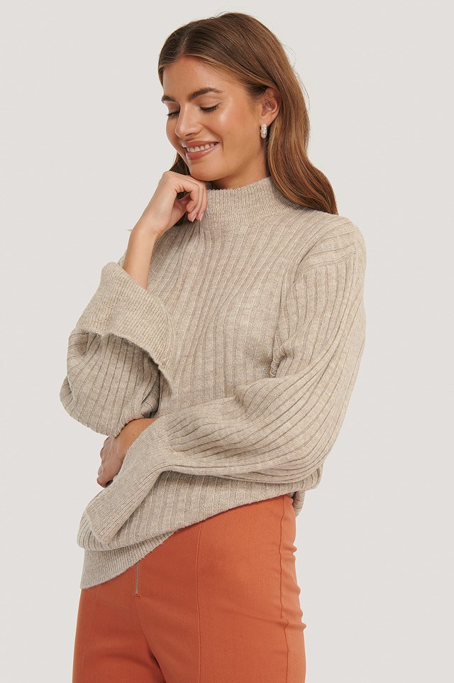 Cuff Slit Knitted Sweater Light Beige