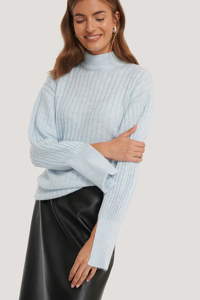 Cuff Slit Knitted Sweater Powder Blue