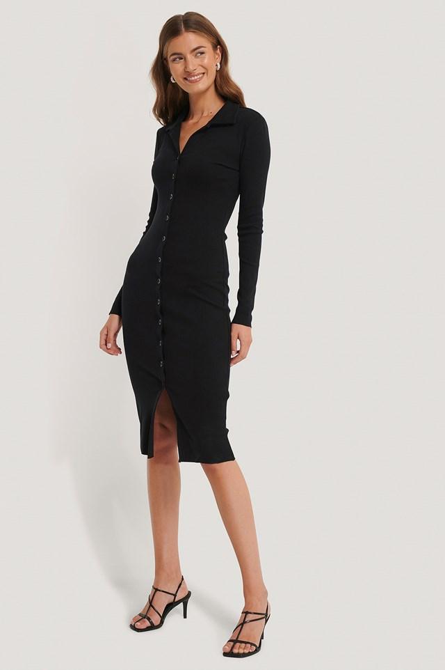 Rib Jersey Dress Black