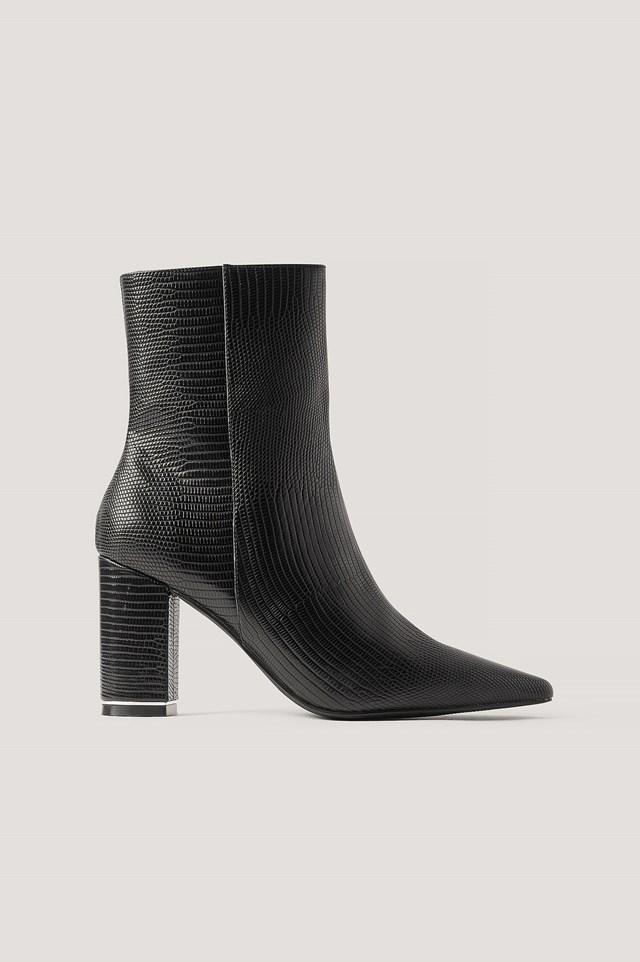 Snake Printed Heels Black