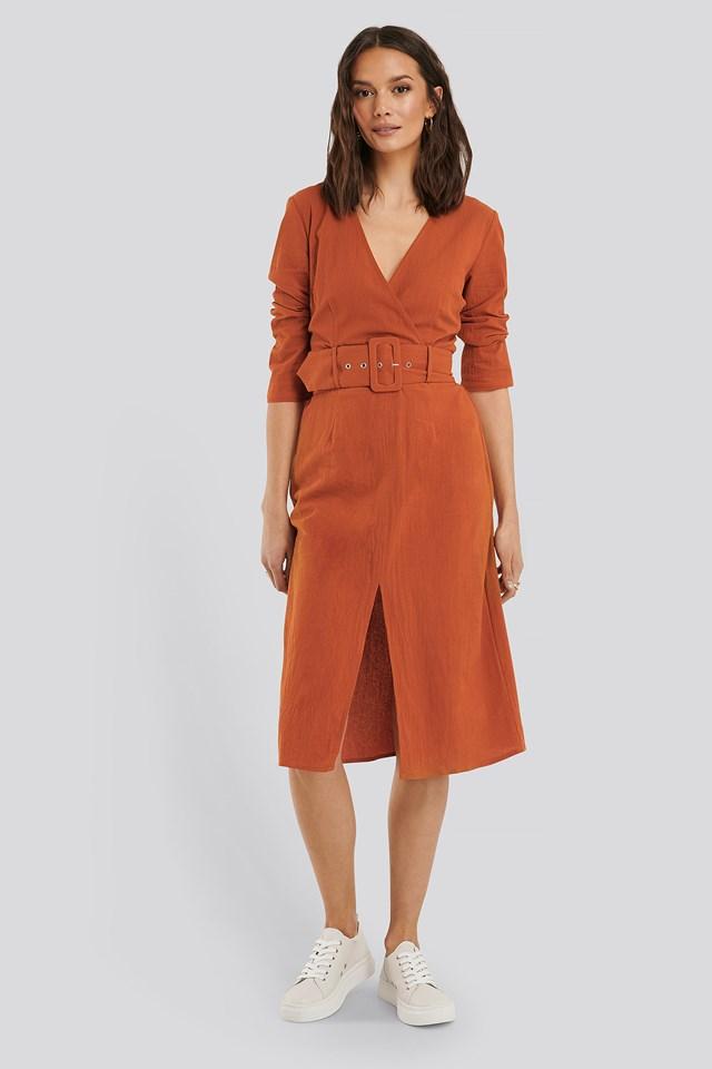 Belted Midi Dress Rust