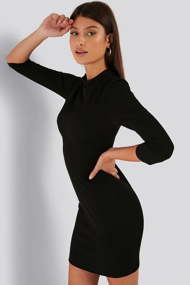 3/4 Sleeve Mini Dress Black