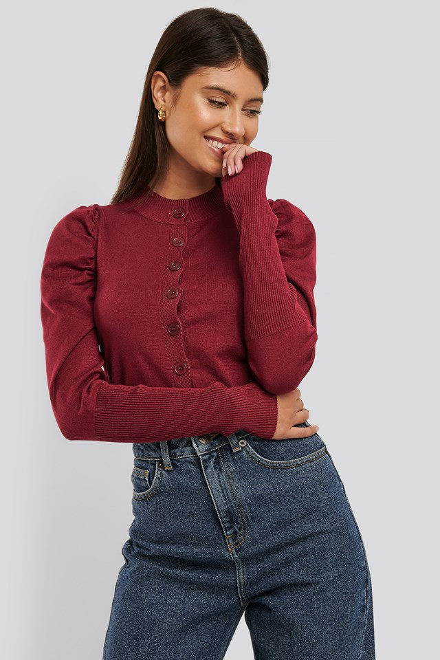 Cropped Puffed Sleeve Cardigan Claret